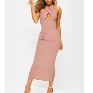 ribbed cross front ankle grazer maxi dress